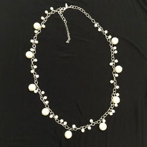 Statement Necklace - silver color with faux pearls